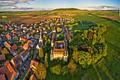 Aerial view from Crailsheim Castle in Fröhstockheim, Kitzingen, Lower Franconia, Franconia, Bavaria, Germany, Europe