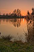 Sonnenuntergang am Landschaftssee in Seinsheim, Weinparadies, Kitzingen, Unterfranken, Franken, Bayern, Deutschland, Europa