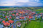 Aerial view of Willanzheim in the evening, Kitzingen, Lower Franconia, Franconia, Bavaria, Germany, Europe