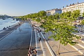 France, Rhone, Lyon, the banks of the Rhone, Victor Augagneur quay, view of the Wilson bridge