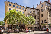 France, Rhone, Lyon, historical site listed as World Heritage by UNESCO, Vieux Lyon (Old Town), Place du Change and Bouchons Lyonnais (typical and traditional restaurants of Lyon), the Maison Thomassin Mansion house