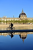 France, Rhone, Lyon, historical site listed as World Heritage by UNESCO, Rhone River banks, quai Victor Augagneur with a view of Hotel Dieu hospital and Notre Dame de Fourviere Basilica