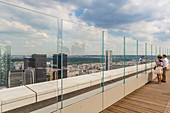 France, Hauts de Seine, La Defense, the Grande Arche by the architect Otto von Spreckelsen, overview from the roof top terrace open on the 01/06/2017, space of 11 000 m2 designed by the agency Valode & Pistre architects