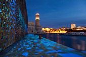 France, Bouches du Rhone, Marseille, uromediterranee, tower of Saint Jean fort, MuCEM, Museum of Civilizations of Europe and the Mediterranean, Ricciotti and Carta architects, lighting by Yann Kersale