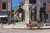 France, Savoie, Chambery, the old town, Fontaine des Elephants also called Quatre sans culs (fountain of the Elephants or the Four without ass), place of the Elephants