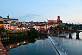 France, Tarn, Albi, the episcopal city, listed as World Heritage by UNESCO, the old bridge dated 11th century and the Ste Cecile cathedral