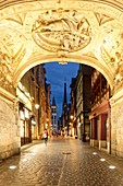 France, Seine Maritime, Rouen, Rue du Gros Horloge and the Notre Dame cathedral, Renaissance arch of the Gros Horloge