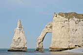 France, Seine Maritime, Etretat, Cliff of Aval and the Aiguille Creuse
