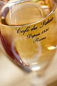 France, Marne, Reims, champagne flute at Cafe du Palais