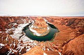 Horseshoe Bend in winter season, Glen Canyon Recreation Area, Page, Arizona, Usa