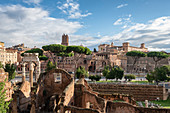 Cesare's Forum and on background markets of Traiano and tower of Milizie, Rome, Lazio, Italy, Europe