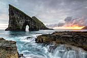 Drangarnir and Tindholmur at dusk, Vagar island, Faroe Islands, Denmark, Europe