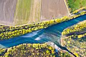 Aerial view of River Adda, Valtellina, Province of Sondrio, Lombardy, Italy, Europe