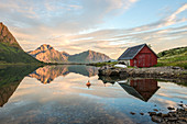 Typical rorbu and peaks reflected in the clear sea during midnight sun, Vengeren, Vagpollen, Lofoten Islands, Norway, Europe