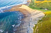 Itxaspe, Gipuzkoa, Basque Country, Spain. Aerial view of Playa Sakoneta
