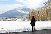 Walk in the first snow, late autumn on the Mieminger Plateau, Tyrol