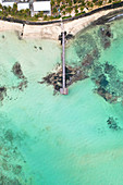 a vertical shot of a pier along a beautiful beach, Trou d'Eau Douce, Mauritius, Indian Ocean, Africa