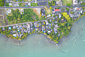 vertical view of La Gaulette taken by drone, Mauritius, Africa