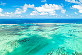aerial panoramic view of reef around Ile aux Aigrettes in winter day, Grand Port district, Mauritius, Africa