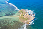 aerial view of Ile aux Forquets,in winter day, Grand Port district, Mauritius, Africa