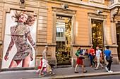 Italy, Lombardy, Milan, Sergio Rossi shop street Via Monte Napoleone