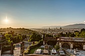 Italy, Tuscany, Florence, historical center listed as World Heritage by UNESCO, panoramic view of the city from the Basilica di San Miniato al Monte