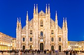 Italy, Lombardy, Milan, Piazza del Duomo, the Cathedral of the Nativity of the Holy Virgin (Duomo) built between the 14th century and the 19th century is the third largest church in the world