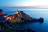 Italy, Liguria, Cinque Terre, Cinque Terre National Park listed as World Heritage Site by UNESCO, Portovenere located in the Gulf of the Poets, San Pietro church