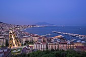 Italy, Campania region, Naples, the Gulf of Naples with Mount Vesuvius on the horizon, panoramic view from Posillipo hill