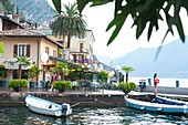Italy, Lombardy, Lago di Garda, Limone Sul Garda, late afternoon at the port