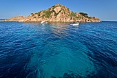 Italy, Sardinia, Tyrrhenian Sea, Gulf of Orosei, Arbatax island frequented by tourists in pleasure boats