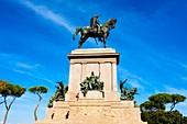 Italien, Latium, Rom, Historisches Zentrum, UNESCO-Weltkulturerbe, Der Gianicolo (auch Janiculum genannt), Das Reitdenkmal, das Giuseppe Garibaldi gewidmet ist