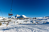Chair lift in the Seiser Alm ski area, South Tyrol, Italy