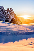 Sunset in the Seiser Alm ski area, South Tyrol, Italy