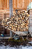 Firewood in a wheelbarrow, Pflerschtal, South Tyrol, Italy