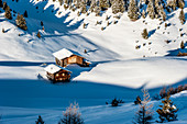 Huts in the Seiser Alm ski area, South Tyrol, Italy