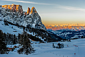 Sunrise in the Seiser Alm ski area, South Tyrol, Italy