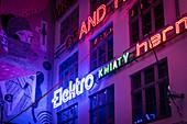 Neon side gallery at night, galeria neonów, Ruska 46c, Wroclaw, Lower Silesia Region, Poland