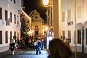 A Krampus runs through the old town, Klausenttrieb, Immenstadt im Allgäu, Obarallgäu, Bavaria, Germany, Europe