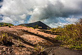 Ash field in front of the Yasur volcano on Tanna, Vanuatu, South Pacific, Oceania