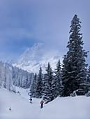 Zwei Männer auf Skitour am Tajakopf in Ehrwald, Tirol, Österreich