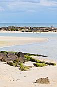 Beach on the Pointe de Saire below the lighthouse. Near the village of Saint Vaast la Hougue, Normandy, France