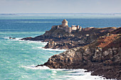 Fort la Latte near Cap Frehel during a storm. Here the Cote Emeraude shows itself in its eponymous color - emerald coast