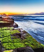 Sunrise at Mossy Tessalated Pavement at Eagle Hawk Neck, Tasmania