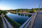 The Rhine-Main-Danube Canal near Berching at the blue hour, Neumarkt in der Oberpfalz, Upper Palatinate, Bavaria, Germany
