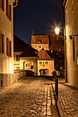 Middle gate in Berching at the blue hour, Neumarkt in der Oberpfalz, Upper Palatinate, Bavaria, Germany
