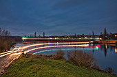 Main ferry at Mainsondheim at night, Dettelbach, Kitzingen, Lower Franconia, Franconia, Bavaria, Germany, Europe