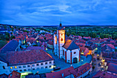 View of the parish church of St. Augustine in Dettelbach at the blue hour, Kitzingen, Lower Franconia, Franconia, Bavaria, Germany, Europe