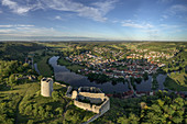 View of the castle ruins of Kallmünz in the evening, Regensburg, Upper Palatinate, Bavaria, Germany