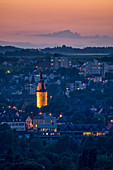 View of the Falterturm in Kitzingen at the blue hour, Lower Franconia, Franconia, Bavaria, Germany, Europe